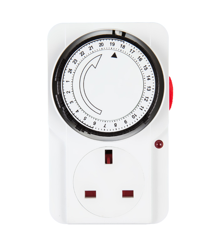 Mechanical 24 Hours Timer Socket UK Plug TE-22A
